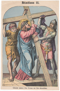 Christ takes the Cross on his shoulder