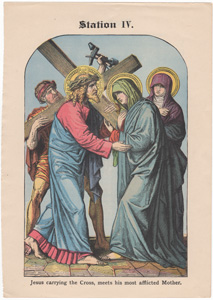 Jesus carrying the Cross, meets his most afflicted Mother