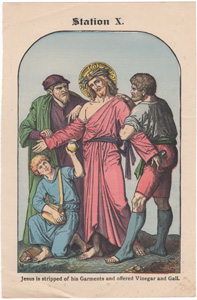 Jesus is stripped of his Garments and offered Vinegar and Gall