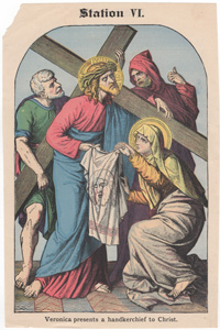 Veronica presents a handkerchief to Christ