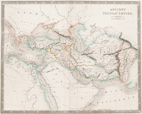 Ancient Persian Empire 1843 Teesdale map