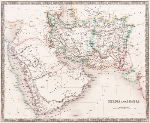Persia and Arabia 1843 Teesdale map