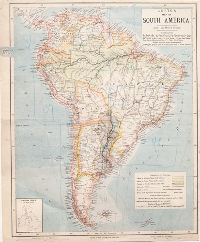 South American continent antique map 1884