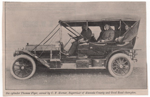 Six cylinder Thomas Flyer, owned by C.F. Horner, Supervisor of Alameda County and Good Road champion