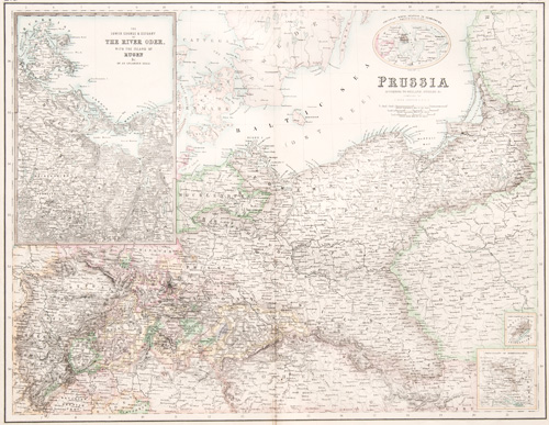 Prussia The Lower Course & Estuary of the River Oder and the Island of Ruger 1860 map