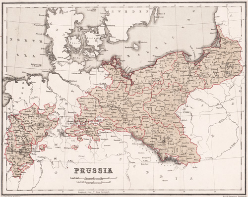 antique map of prussia 1855