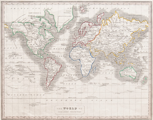 The World on Mercators Projection 1848