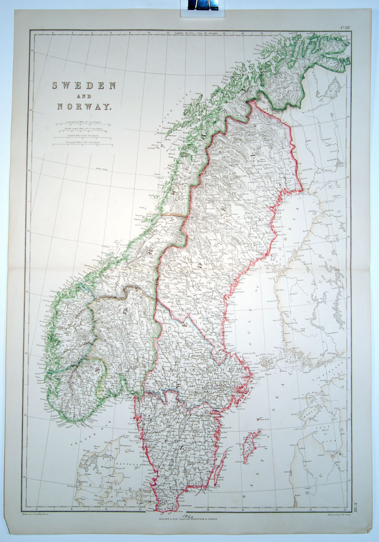 Blackie and Sons 1860 antique map of Sweden and Norway on 1860 map of liberia, 1860 map of mexico, 1860 map of upper silesia, 1860 map of czechoslovakia,