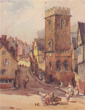 color lithographs of English and European buildings