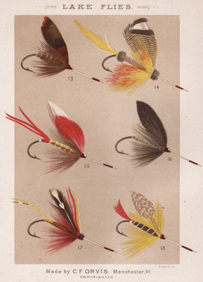 ANTIQUE PRINT OF FISHING FLIES FROM 1885