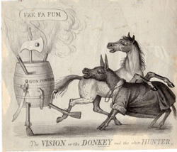 The VISION of the DONKEY and the white HUNTER