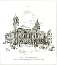 Central Hall, Westminster; Sketch submitted in preliminary competition