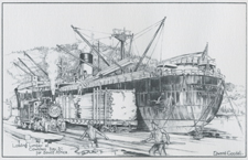 Loading lumber at Cowichan Bay, B.C. for South Africa