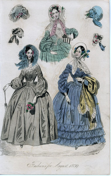 August 1839 women's fashions