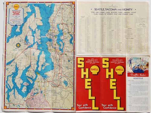 Shell 1936 Street Guide of Seattle and Metropolitan Maps of Seattle, Tacoma and vicinity