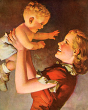 Vintage prints of mothers with babies, family, etc.